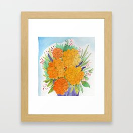 Orange Peonies Framed Art Print