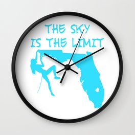 The Sky Is The Limit Climbing Girl Florida Map Mountains Gift Wall Clock