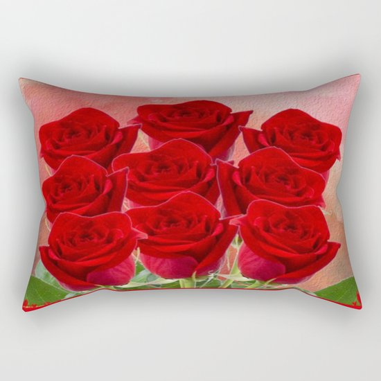 Forever My Love - Red Roses With Hearts Rectangular Pillow
