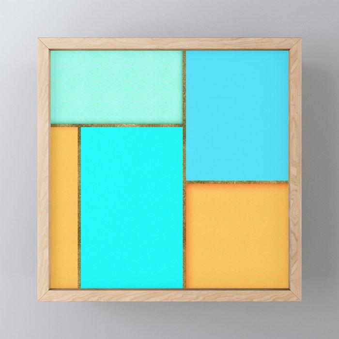 Light Blue, Orange And Gold Abstract Art Framed Mini Art Print