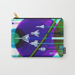 NASA Space Saturn Shuttle Retro Poster Futuristic Explorer Blue Carry-All Pouch