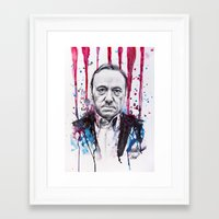 frank underwood Framed Art Prints featuring Frank Underwood - House of Cards by Denise Esposito