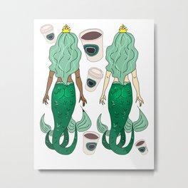 Star Butts Mermaids Coffee Metal Print