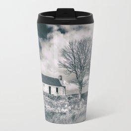 Highland Cottage, monochrome. Travel Mug