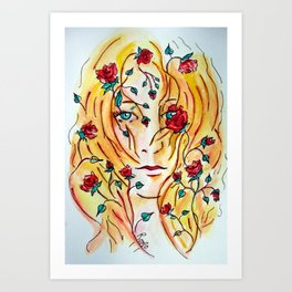 Fire of Roses Art Print