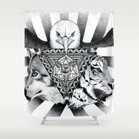 power rangers Shower Curtains featuring Power by wreckthisjessy