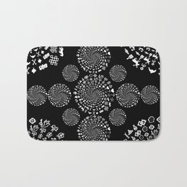 Love Symbol Mandala White on Black Bath Mat
