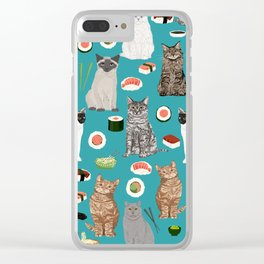 Cat breeds pure bred cats sushi kawaii pet gifts cat person must haves Clear iPhone Case