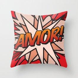 Comic Book AMOR! Throw Pillow