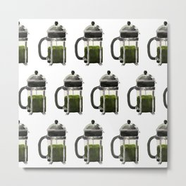 French Press - Olive Green Metal Print