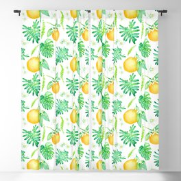 Citrus Tropics - White Blackout Curtain