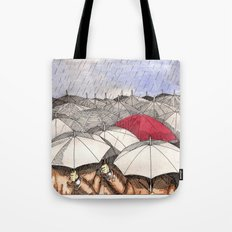 Standing Out in the Rain Tote Bag