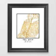 TEL AVIV ISRAEL CITY STREET MAP ART Framed Art Print
