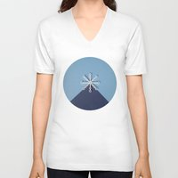 snowflake V-neck T-shirts featuring snowflake by yard