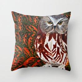 Northern Saw-whet Owl in Cedar Tree Throw Pillow