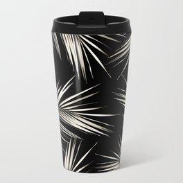 White Gold Palm Leaves on Black Metal Travel Mug