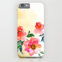 three red peonies, yellow background iPhone Case