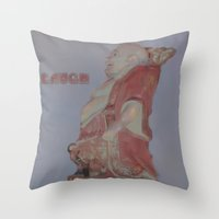 buddah Throw Pillows featuring Laughing Buddah by Heidi Fairwood