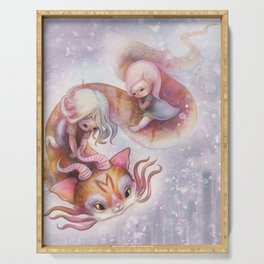 Cute Magic Dragon Cat Flying with Baby Girls Serving Tray