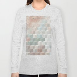 Distressed Cube Pattern - Nude, turquoise and seashell Long Sleeve T-shirt