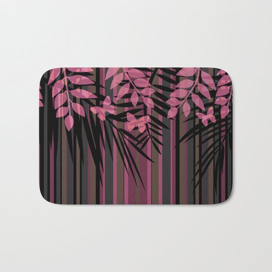 Butterflies and leaves on a striped red-and-black background . Bath Mat