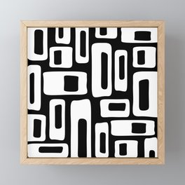 Retro Mid Century Modern Abstract Pattern 335 Black and White Framed Mini Art Print