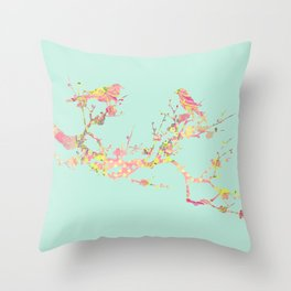 Love Birds on Branch Vintage Floral Shabby Chic Pink Yellow Mint Throw Pillow