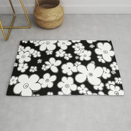 Puffy Fun Black and White Graphic Design Flowers Art by Megan Duncanson MADART Rug