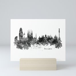 Barcelona Black and White Watercolor Skyline Mini Art Print