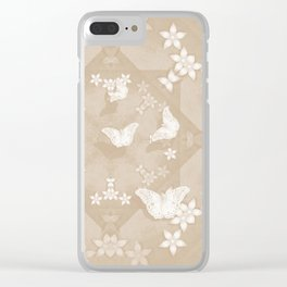 Dreamy butterflies and mandala in iced coffee Clear iPhone Case