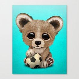 Cute Baby Bear With Football Soccer Ball Canvas Print