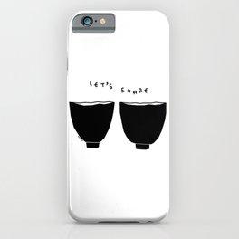 Let's Share Soup, Love, Smiles - Couple Humor quotes Minimal Soup Bowl Kitchen Illustration iPhone Case