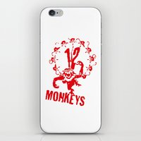 planet of the apes iPhone & iPod Skins featuring Twelve Apes by FunnyFaceArt