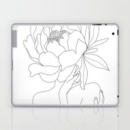 Minimal Line Art Woman Flower Head Laptop & iPad Skin