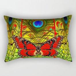 RED MONARCH BUTTERFLIES LIME COLOR PEACOCK ART Rectangular Pillow