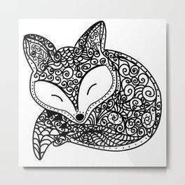 Black and White Mandala Fox Design Illustration Metal Print