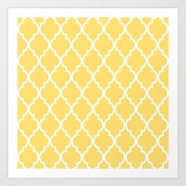 Classic Quatrefoil Lattice Pattern 731 Yellow Art Print