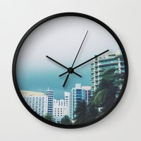 miami Wall Clocks featuring Miami  by Anna Zurowska