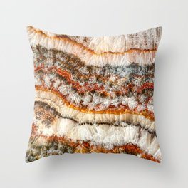 Agate Crystal IV // Red Gray Black Yellow Orange Marbled Diamond Luxury Gemstone Throw Pillow
