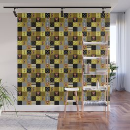 Jungle Friends Mustard & Black Cheater Quilt Hand-Painted Jungle Animals Wall Mural