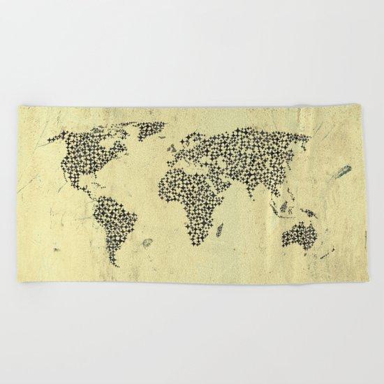 Black Star World Map Beach Towel