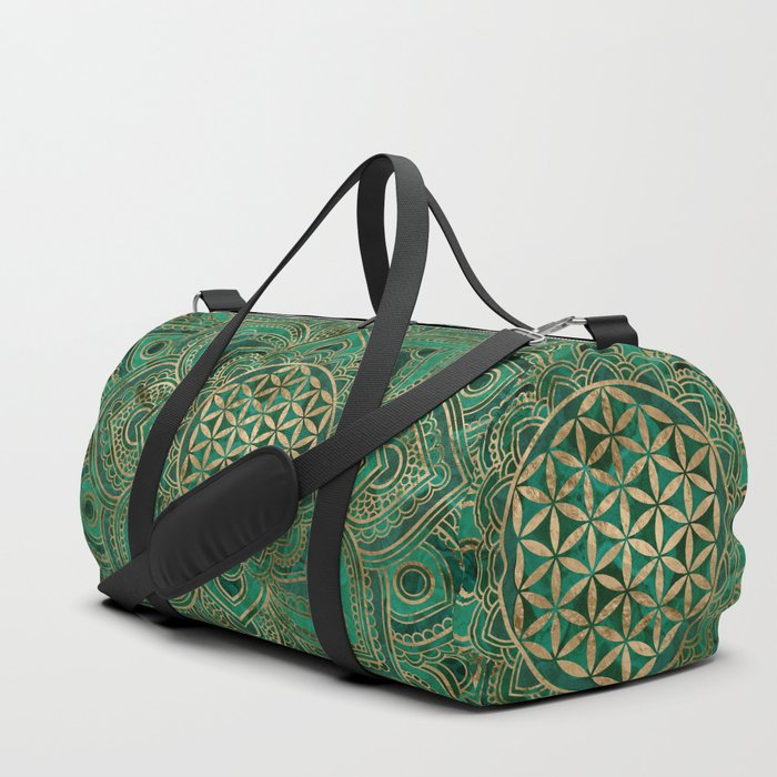 Flower of Life in Lotus - Malachite and gold Duffle Bag