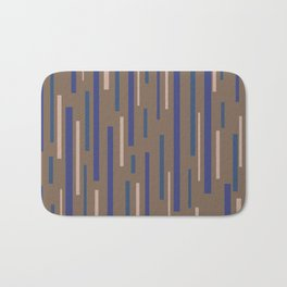 Interrupted Lines Mid-Century Modern Minimalist Pattern in Blue, Purple, Taupe, and Brown Bath Mat