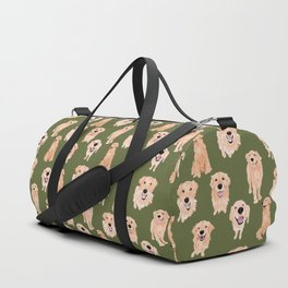 Golden Retriever on Green Duffle Bag