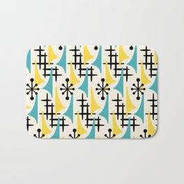 Mid Century Modern Atomic Wing Composition Turquoise & Yellow Bath Mat