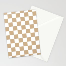 Checkered (Tan & White Pattern) Stationery Cards