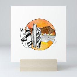Surfing Diamond Head - Hawaii 2020 Mini Art Print