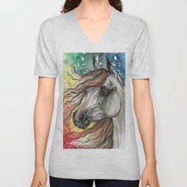 Horse with rainbow background Unisex V-Neck