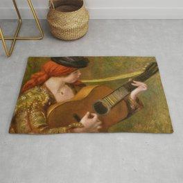 """Auguste Renoir """"Jeune Espagnole jouant de la guitare""""(Young Spanish Woman Playing a Guitar) Rug"""