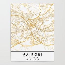 NAIROBI KENYA CITY STREET MAP ART Poster